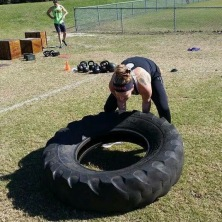 Me flipping a big heavy tire!