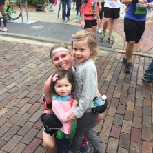 Stacey and her girls at the finish line