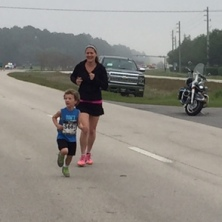 Amy and Silas on the race course